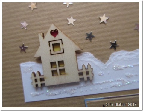 Mini Wooden House Embellishment. House in the snow Christmas Card