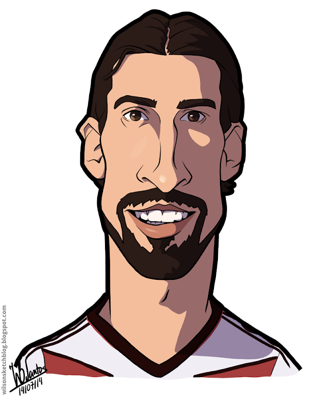 Cartoon caricature of Sami Khedira.