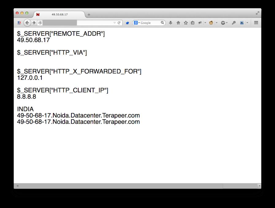 顯示遭到竄改的 HTTP Header