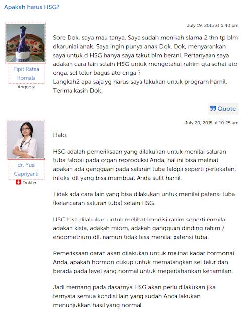 HSG Menurut Anjuran Dokter selama program hamil