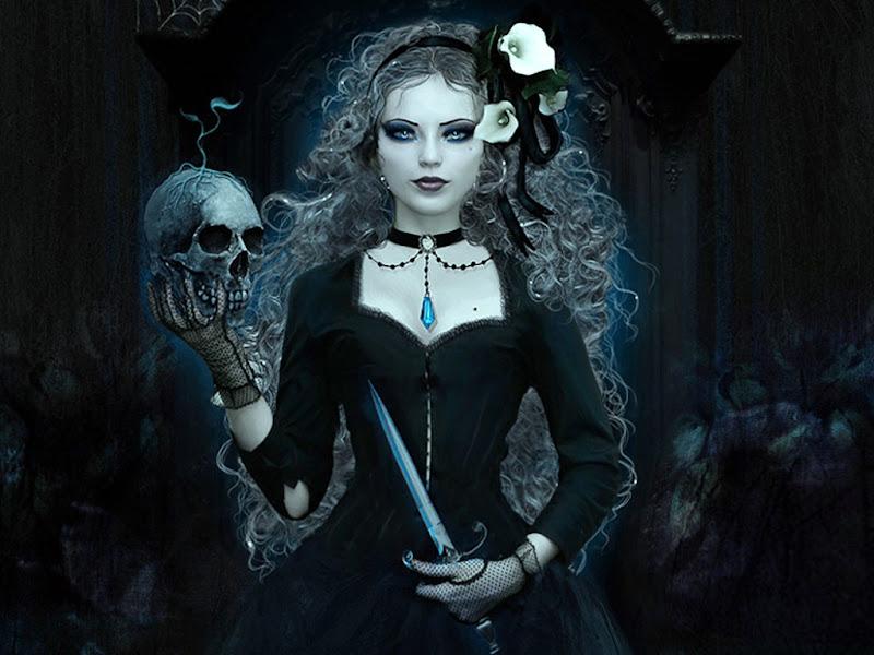Dark Wicca Witn Scull, Wicca Girls