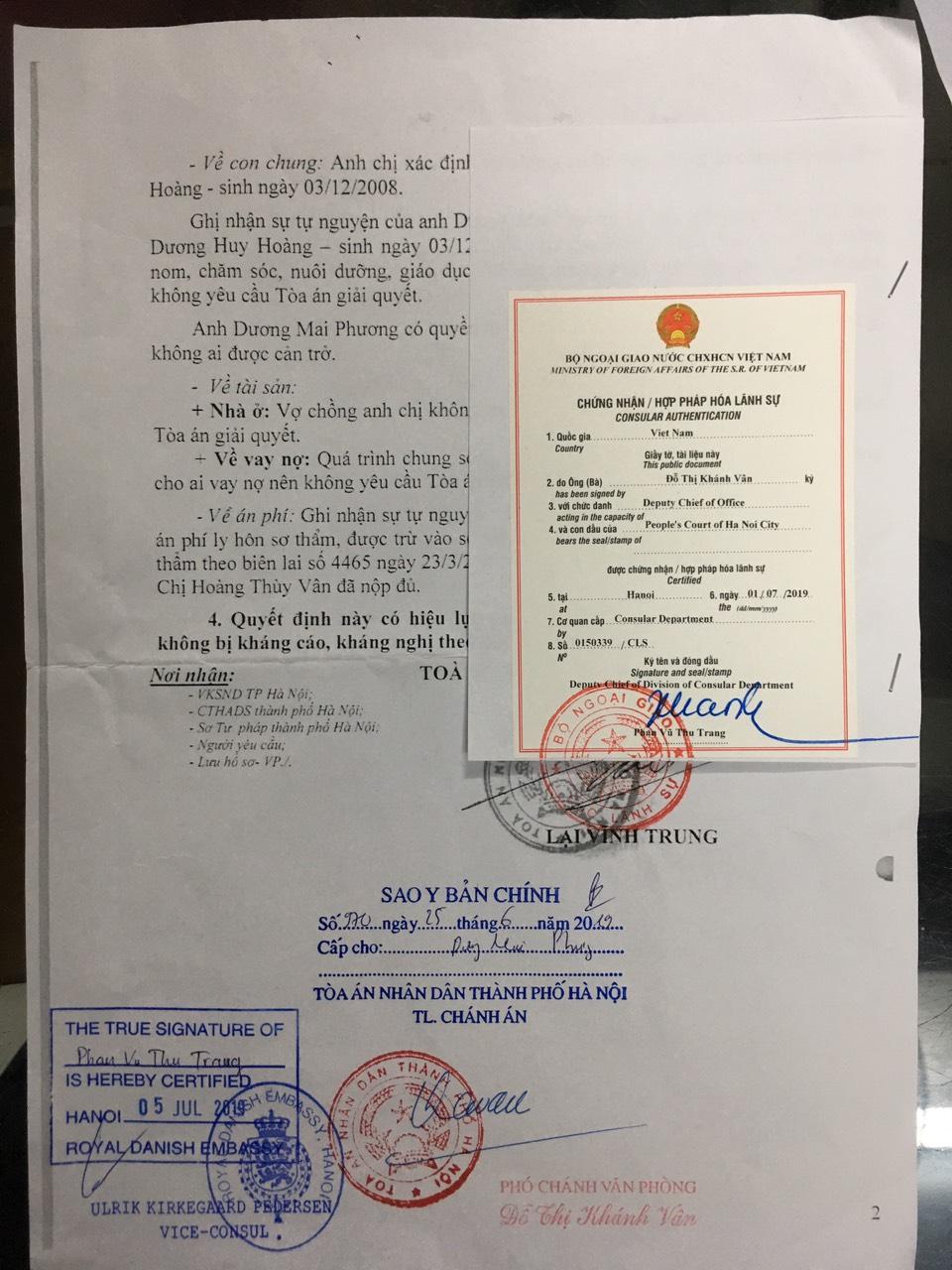 Chứng nhận hợp pháp hóa lãnh sự tại Đại sứ quán Đan Mạch