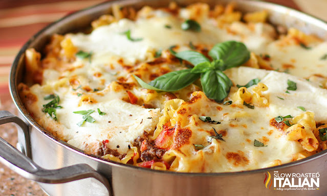 Lasagna in a stainless skillet