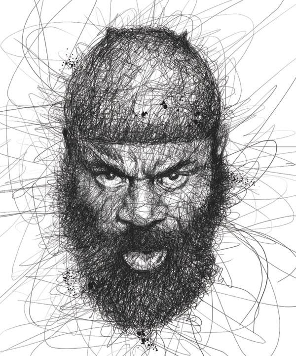 Scribble Drawing Celebrity Portrait By Vince Low : Beautiful celebrity portraits made of scribbles fashion qe