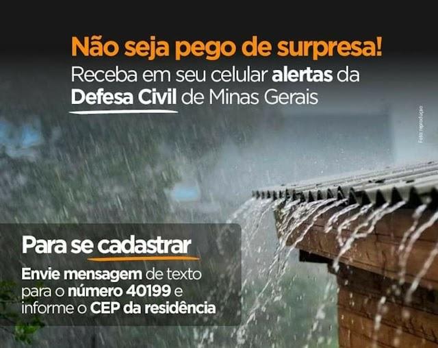 Cadastre-se no sistema de alerta da Defesa Civil de Minas Gerais