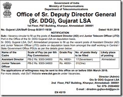Sr.DDG Gujarat LSA Notification 2018 www.indgovtjobs.in