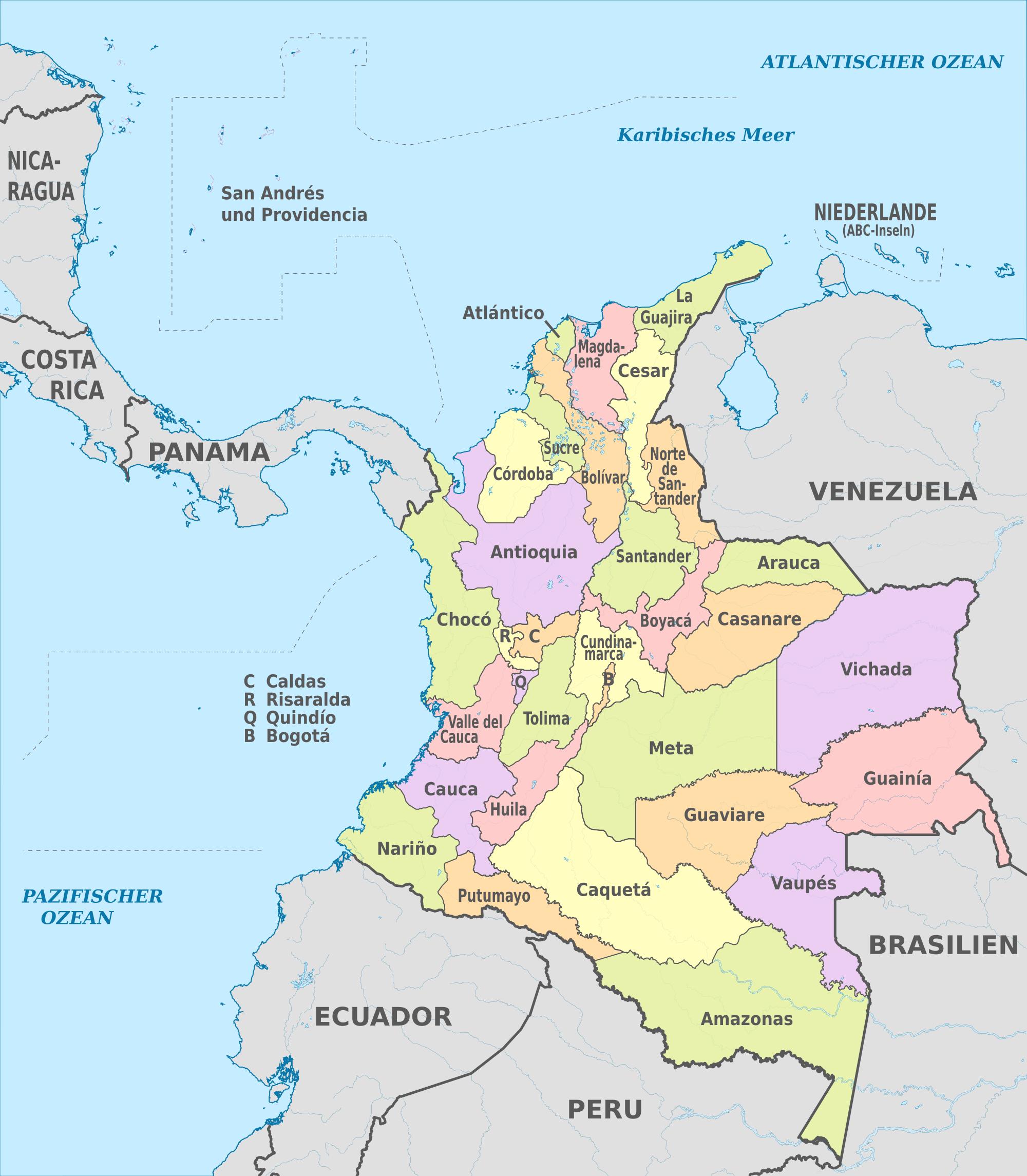 Mapa politico de Colombia hd 4