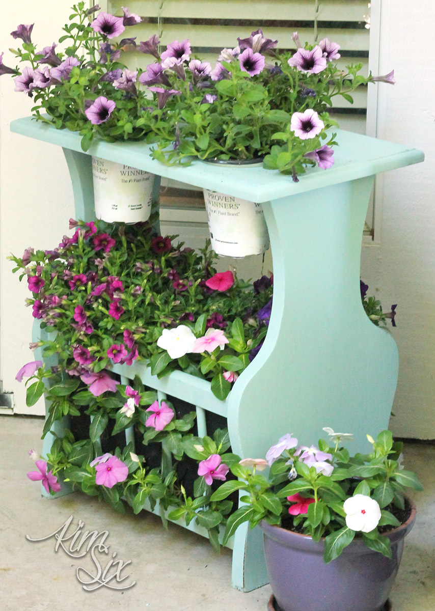 Tiered plant stand from magazine rack