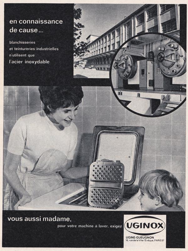Vous aussi madame, pour votre machine à laver, exigez UGINOX.- Pour vous Madame, pour vous Monsieur, des publicités, illustrations et rédactionnels choisis avec amour dans des publications des années 50, 60 et 70. Popcards Factory vous offre des divertissements de qualité. Vous pouvez également nous retrouver sur www.popcards.fr et www.filmfix.fr
