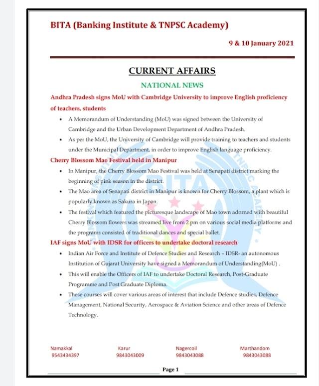 Banking Exam - Today Current Affairs  BITA Academy  ( 09 -  January  2021 )