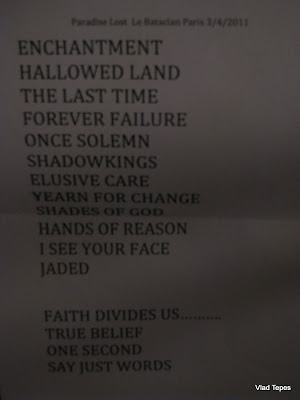 Paradise Lost : set-list @ Le Bataclan, Paris 03/04/2011