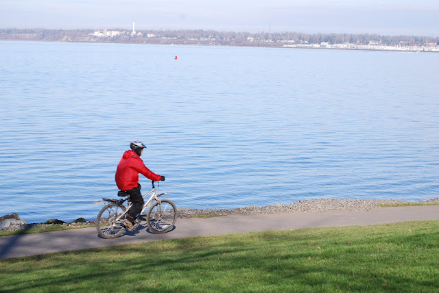 Bicyclist riding along Boulevard Park trail / Credit: Bellingham Whatcom County Tourism