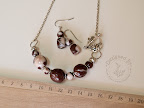 Marble chocolate necklace and earrings set.