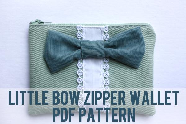 little bow zipper wallet pattern