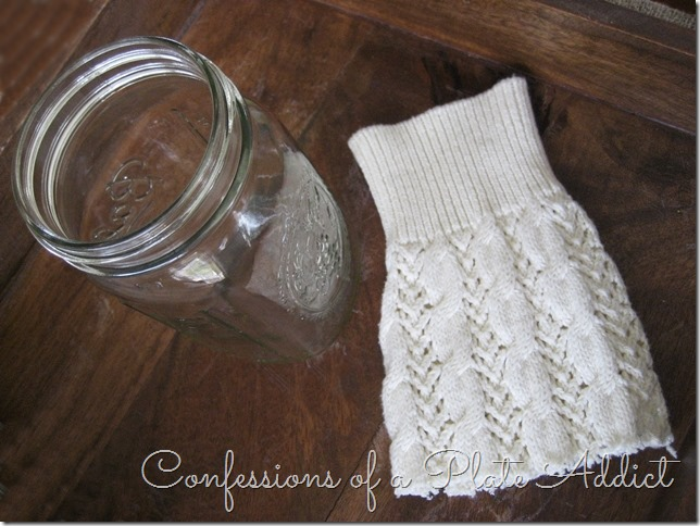 CONFESSIONS OF A PLATE ADDICT Mason Jar Sweater Candles supplies