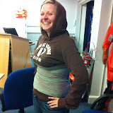 Casualty Care for Lifeboat Crew course – April 2011: this casualty looks quite happy with her emergency care bandage on!
