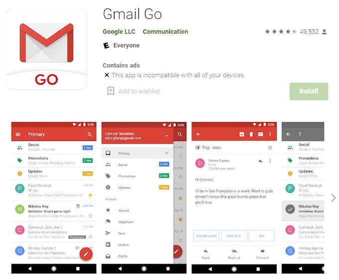 Gmail Go अब सभी Android फोन के प्ले स्टोर (Play Store) में डाउनलोड करने के लिए उपलब्ध है