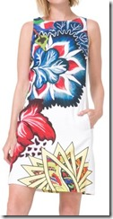 Desigual white printed slightly a line dress