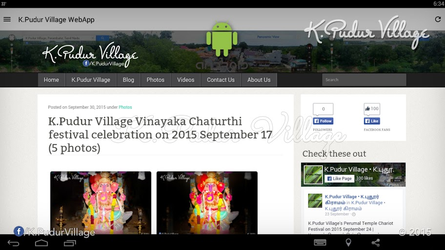 K.Pudur Village WebApp 2015 v1.0 (K.Pudur Village WebApp v1.0 First impression navigation Screenshot)