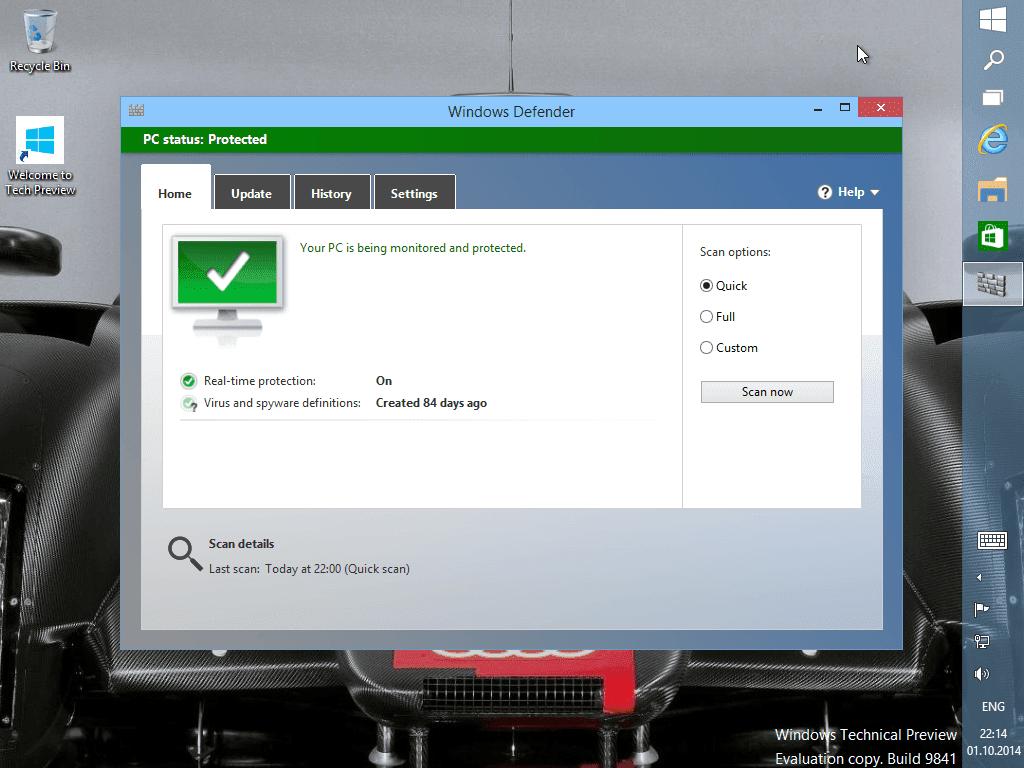 Windows Defender - встроенный бесплатный антивирус от Microsoft.