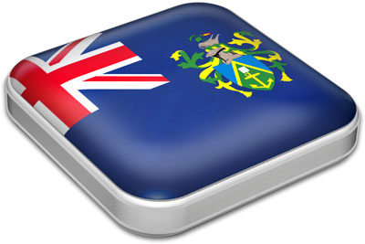 Flag of Pitcairn Islands with metallic square frame