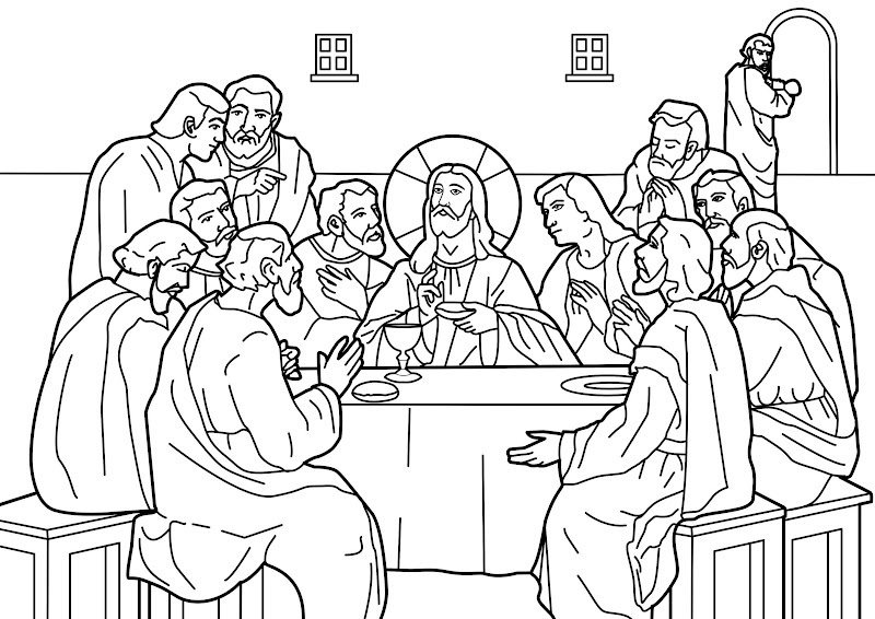 The last supper of Jesus coloring pages