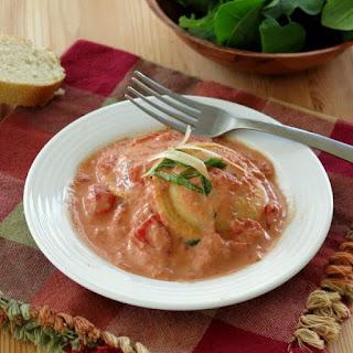 Tomato Cream Sauce over Ravioli