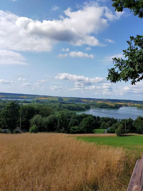 widok na pola z pszenicą oraz jezioro w kształcie serca