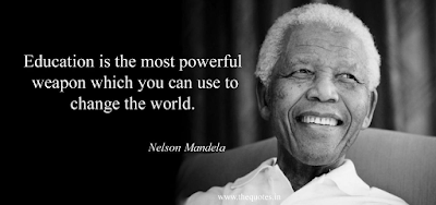 """Picture of quote by Nelson Mandela reading """"Education is the most powerful weapon which you can use to change the world."""""""