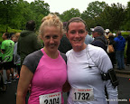 Laura and I post-race. Among her many talents, Laura does PR for CURE!