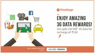 Freecharge - Get Upto 150 MB 3G Data For Free On Recharge Of 100 Or More