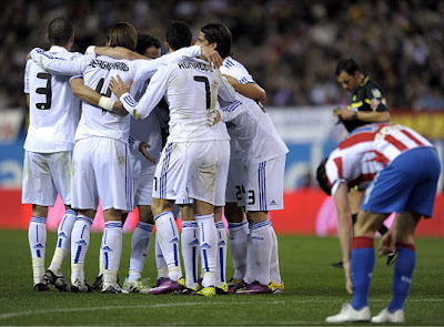 All the Real Madrid players celebrated the second goal of the match against Atletico