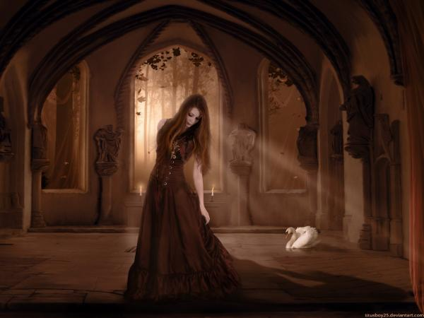 Dance Of Girl In Night Castle, Gothic