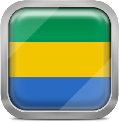 Gabon square flag with metallic frame