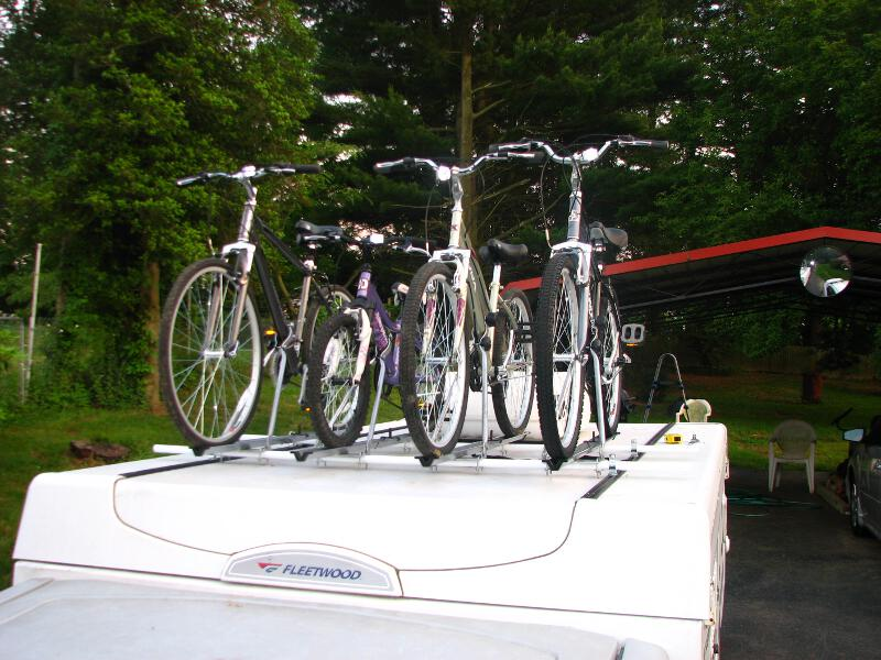 & Popup camper bike rack