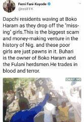 """Buhari is the owner of Boko Haram. He trade with blood and terror"" -FFK"