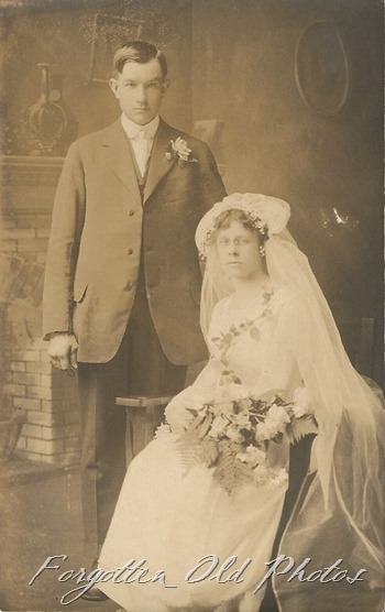 Sitting Bride Triangles Up AZO Postcard Erickson Photo Mpls  DL Ant 1904 to 1918