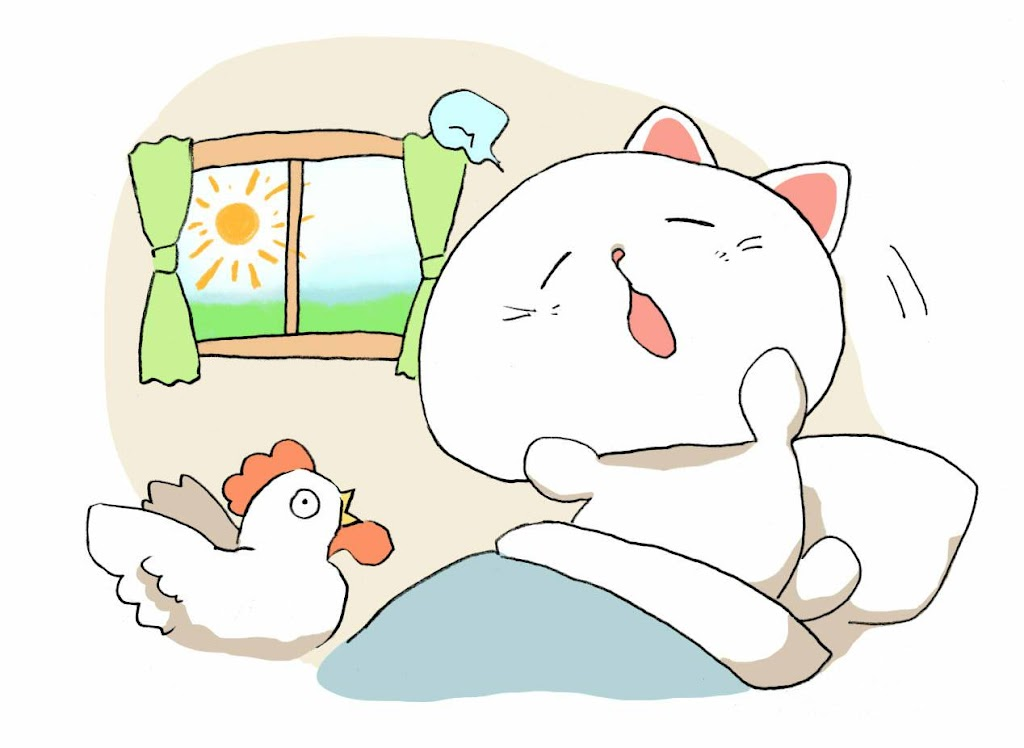 朝起きた猫のイラスト