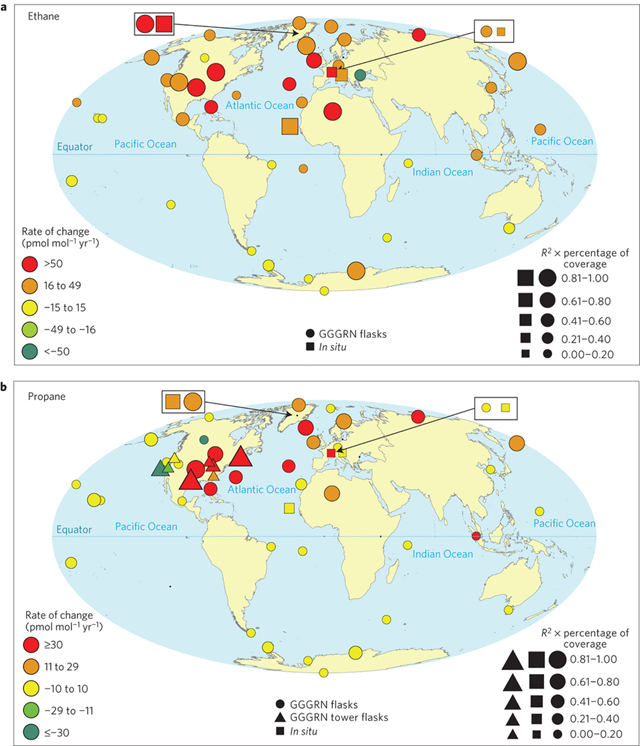 Ethane and propane trends at global monitoring sites. Mole fraction changes are indicated by the colour scale with marker size corresponding to the R2 of the fit multiplied by the fraction of available site data. Results from overlapping GGGRN flask and in situ measurements are shown in black. Graphic: Helmig, et al., 2016 / Nature Geoscience