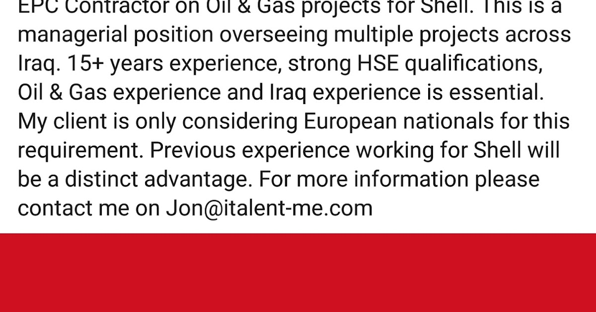 Oil and Gas Jobs: HSE Manager for Shell Project