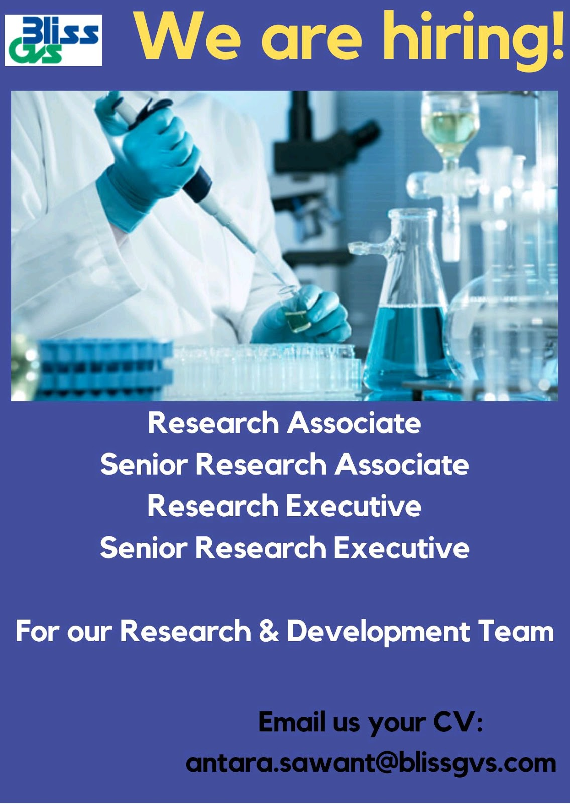 Multiple Opening At Bliss GVS R&D As Analytical Scientists, Research Associate