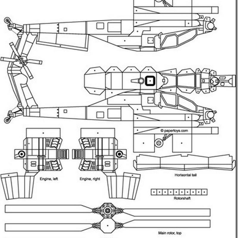 Maqueta helicóptero apache para imprimir y armar