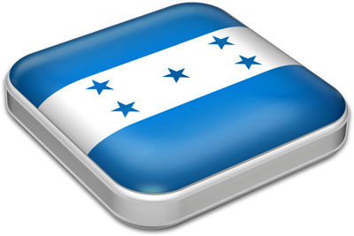 Flag of Honduras with metallic square frame