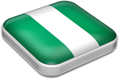 Flag of Nigeria with metallic square frame