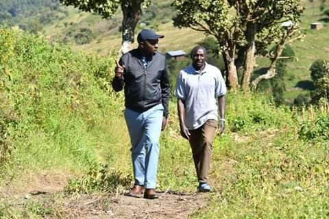 Senator Kipchumba Murkomen with his dad in the village. PHOTO | BMS
