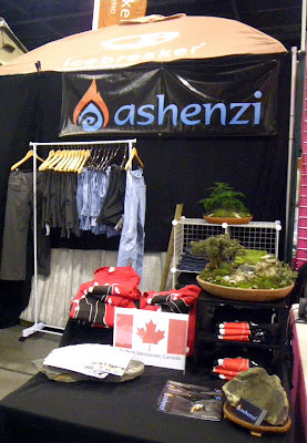 Ashenzi booth decorated with our saikei , miniature landscapes at Vacouver Outdoor Adventure and Travel Show