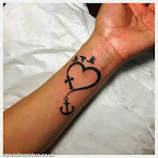 Heart Anchor and Cross - Simple tattoo - Heart Tattoos
