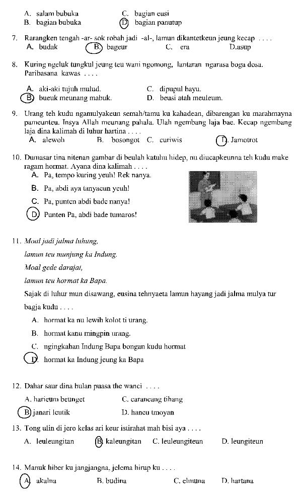 Latihan Soal Dan Jawaban Us Bahasa Sunda Sd 2021 Pendidikan Kewarganegaraan Pendidikan Kewarganegaraan