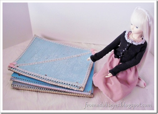 Spiral notebooks used for sketching out craft and clothing ideas.