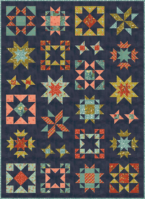 Clear Sky quilt pattern by Andy of A Bright Corner - a modern sampler style star quilt in Songbook fabrics from Moda Fabrics